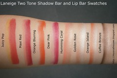 Laneige Two Tone Shadow Bar Lip Bar Swatches (musicalhouses) Tags: lipstick eyeshadow asi laneige twotone eyeshadows asianmakeup koreanmakeup koreanbrands lipproduct kbeauty eyeshadowcrayons