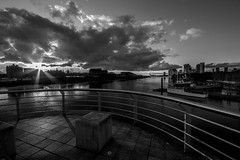 Clyde Black and White (el_boberino) Tags: sunset urban white black water monochrome docks river scotland clyde waterfront glasgow partick