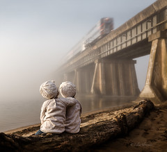 Maybe Someday... (liliaalvarado) Tags: travel bridge light beach water up lines speed train river moving twins sand hug warm looking adventure explore passing toddlers attention