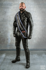 Mr. Leather Europe 2015 (Thorsten) (WF portraits) Tags: portrait hairy man black male leather fetish studio beard sash aut gayleather mrleathereurope