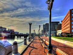 (mahler9) Tags: jaym december 2014 boston city urban brick fortpointchannel waterfront bench hdr