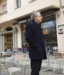 Einstein in Berlin (street photography) (IoannisK.) Tags: street berlin coffee outside photography cafe albert einstein kaffee kaffeehaus einsteinkaffee