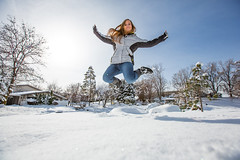 Happiness is more snow. (Flickr_Rick) Tags: winter woman snow cold girl outside jump jumping breanne jumpology