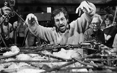 Steven Spielberg growling at Kate Capshaw (Tom Simpson) Tags: film vintage scary cage scare behindthescenes indianajones stevenspielberg templeofdoom katecapshaw thetempleofdoom