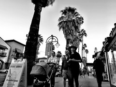 Taking the evening air... (Dennis Sparks) Tags: california blackwhite downtown palmsprings pedestrians strollers palmcanyonrd