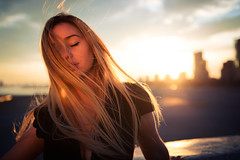 Ocaso (No estoy aqui cayendo.) Tags: barcelona light portrait skyline photoshop golden mar retrato forum ocaso magichour closedeyes bythesea ojoscerrados horamagica nikond800 nikon2470f28
