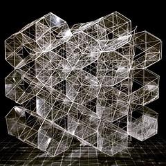 Kirigami truncated tetrahedron network (mike.tanis) Tags: art geometric architecture design origami crystal space kirigami network lattice structural truncated photonics truncatedtetrahedron