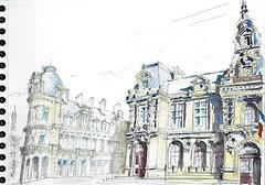 Poitiers, l'Hôtel de ville (Croctoo) Tags: watercolor sketch hoteldeville aquarelle ville mairie poitiers croquis poitou croctoo croctoofr