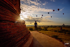 Sunrise in Bulethi Temple, Bagan Myanmar (Sunny Merindo | Photography) Tags: travel light portrait sky orange sun nature clouds sunrise balloons temple fly asia shadows outdoor burma ngc wanderlust holy sacred myanmar lonelyplanet sight passport plain bagan selfie natgeo smerindo sunnymerindo schultzpax sunnymerindoimages