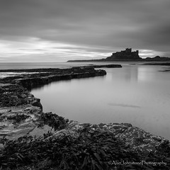 Ahead Of The Curve (ajp~) Tags: longexposure sea england sky blackandwhite bw seascape seaweed castle water monochrome clouds canon reflections square landscape mono coast rocks northumberland northsea coastline bamburgh 6d canon1740mmf4l bamburghcastle canon24105mmf4l alanjohnstone