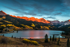 Chasing the Light (offline for a while, catch up soon...) (Ping...) Tags: autumn light sunset red sky orange lake mountains tree fall colors yellow clouds forest landscape colorado colours outdoor ngc telluride troutlake coloradoautumn