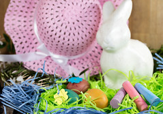 Easter Decorations for Home Decor for the Spring Holiday (Transient Eternal) Tags: pink people orange stuffedtoy white holiday color rabbit bunny green bunnies art love colors animals yellow kids easter children fun toys design chalk spring furry hats craft tint plush celebration decorating eggs dye decorate homedecor oval hunt activities hardboiled jasmines candyeggs jasminoides