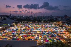 New Rot Fai Market Ratchada (BP Chua) Tags: travel sunset sky clouds landscape thailand lights colours market bangkok bluehour colourful ratchada rotfai trainmarket