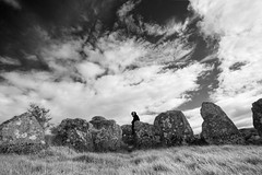 Knockoneill Walker (backpackphotography) Tags: ireland blackandwhite bw megalithic court photography ancient rocks stones tomb londonderry backpack archer prehistoric hdr derry megalith northern ireland tomb court knockoneill knockoneill