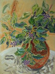 Wild Ivy, Pastel (bridget281157) Tags: blue wild orange green table grey berries pastel ivy indoors vase