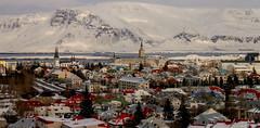 Reykjavk 1 explored (einisson) Tags: houses mountain snow church landscape iceland outdoor esja reykjavk canon70d einisson
