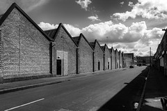 Saw Teeth (Mac McCreery) Tags: street sky blackandwhite clouds roofs birminghamuk digbeth sigma1770dcmacro pentaxk5iis