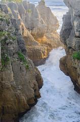 Punakaiki Natonal Park Blowhole (Jan van_Dijk) Tags: ocean sunset sea newzealand coast rocks zee blowhole nz limestone tasmansea punakaiki lateafternoon nieuwzeeland paparoa dolomitepoint paparoanationalpark spuitgat tasmanzee