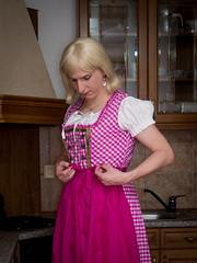 Long pink dirndl (blackietv) Tags: pink kitchen dress crossdressing tgirl apron transgender transvestite checkered crossdresser dirndl