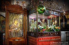 Icon of Jesus and Mary inside the Church of the Nativity, Bethlehem (sminky_pinky100 (In and Out)) Tags: travel tourism church religious israel worship shrine interior holy lanterns historical inside bethlehem nativity biblical churchofthenativity omot birthplaceofjesus