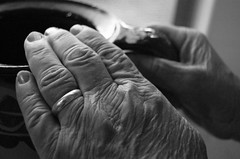 Time (MoniqueSherman) Tags: lighting old grandma light arizona portrait blackandwhite bw white black texture girl beautiful beauty silver dark person grey lights model hands exposure pretty view natural skin time grandmother finger fingers gray young overcast az ring pot age vase bandw upclose wrinkles oldage oldhands