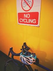 No cycling (Dan Chippendale) Tags: bike sign yellow ferry samsung minimal galaxy minimalism minimalistic s7 nocycling rosebike samsunggalaxys7 kaskhelmet