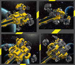 GHL Mammoth MkII -Details- (OrangeKNight) Tags: yellow dark grey lego space transport cargo micro spaceship freight containers bluish ldd glh bley microscale