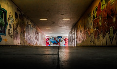 Graffiti (lensflare82) Tags: city urban colour art sign canon dark underpass concrete eos graffiti town paint gloomy decay kunst tag pedestrian can spray stadt amateur farbe dunkel beton beginner lack lightroom varnish zeichen shutterbug unterfhrung anfnger underbridge cheerless dster blackly sprhdose 700d