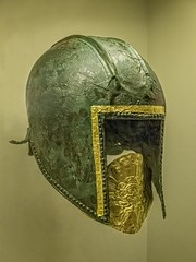 Funerary bronze helmet with gold mouth piece from the necropolis at Archontiko Greek mid-6th century BCE (mharrsch) Tags: chicago bronze soldier greek death gold illinois ancient mask helmet exhibit greece armor 6thcenturybce burial warrior armour funerary thefieldmuseum thegreeks mharrsch archontiko thegreeksagamemnontoalexanderthegreat