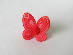 Red handpainted silk butterfly ring (simutes) Tags: red ring silkpainting redring redbutterfly