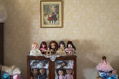 Yarraville (Westographer) Tags: wallpaper dolls cabinet suburbia australia melbourne livingspace yarraville westernsuburbs dollcollection blythedolls framedprint