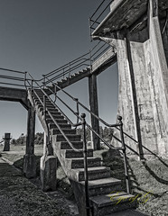 Stairs to a View.jpg (Eye of G Photography) Tags: sunset usa texture stairs concrete places whidbeyisland northamerica washingtonstate watchtower sunsetsunrise fortcasey raillings gunimplacements