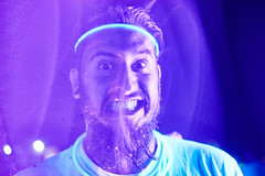 Crazy Ass Hunter (FunkadelicSam) Tags: pink party smile night happy crazy hilarious funny paint neon glow purple bright beards messy rave