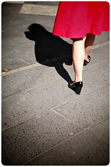 Brand new shoes (Per sterlund) Tags: street city shadow red shoes sweden stockholm candid sony schweden streetphotography skirt streetphoto sverige 2016 hamngatan gatufoto strasenfotografie sonyz2
