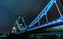 Blue beams (jbrambaud) Tags: city bridge blue light london tower architecture night towerbridge nikon flickr wideangle citiscape d3s