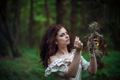 Mysterious Forest Nymph (noor.khan.alam) Tags: portrait woman green nature girl beautiful beauty forest dark fire doll candles magic ukraine pot fairy needle gaslamp mysterious mystical concept charming nymph mythology voodoo fortunetelling dreamtree wreathofflowers brewpotions