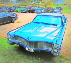 Dayglo Azure blue ..edit .. '65 Cadillac Coupe de ville .. (John(cardwellpix)) Tags: uk corner de sunday surrey cadillac april guildford 24th ville newlands 1965 coup albury 2016 merrow
