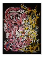 Sacrifice  mithra (AntoineWentzler) Tags: paris rose painting rouge paint noir drawing peinture canvas blanc couleur sacrifice mithra ligne toile personnage couteau 2016