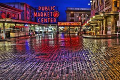 Market Morning Colour (zenseas working) Tags: seattle longexposure morning colour wet rain reflections early washington neon market bricks reflected rainy pikeplacemarket colourful 1stavenue pikeplace firstavenue publicmarket publicmarketcenter brickroad firstandpike