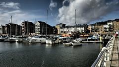 Marina... (MickyFlick) Tags: sea england sky water clouds marina bristol boats dock apartments ship portishead somerset quay flats yachts