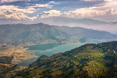 Top view from Pokhara to Himalaya mountain (Q-lieb-in) Tags: travel nepal lake snow mountains clouds top peak himalaya pokhara topview phototravel manaslu  machapuchare  qliebin