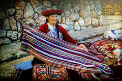 (Artypixall) Tags: portrait woman texture peru blankets handycraft chinchero