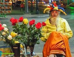 Valentine Weekend - EXPLORE (Halcon122) Tags: street flower color night austin texas posed vendor 6thstreet olympusem5markii