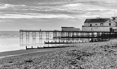 Pier (peterphotographic) Tags: uk sea england blackandwhite bw beach monochrome canon sussex coast pier westsussex britain coastline groyne channel bognorregis g15 silverefexpro2 peterhall img6178sefexedwm