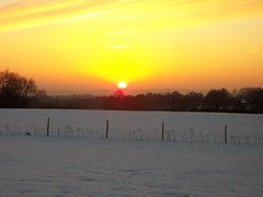 Sunset over Coopers Farm Boxing day 2010 in snow