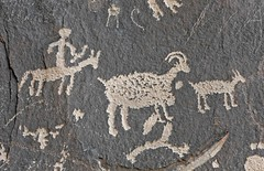 Petroglyphs / Newspaper Rock Site (Ron Wolf) Tags: horse archaeology utah panel nativeamerican ute restored restoration hunter petroglyph anthropology rockart bowandarrow zoomorph bighornsheep anthropomorph anthromorph newspaperrockstatehistoricalmonument