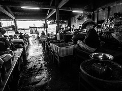 Hoi An 03 (arsamie) Tags: light food woman fish wet water girl hat rain neon chairs market havana an meat vietnam hoian stuff tables buy balance products sell cheap weight bargain hoi