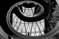 Helical Descent (Ian Smith (Studio72)) Tags: uk windows england bw london architecture stairs spiral mono blackwhite shadows cityhall descent twist lookingup staircase twirl twisted spiralstaircase descending fosterpartners helical canon60d studio72 canon1018mm