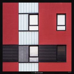 Cubed (Ilan Shacham) Tags: red white abstract black building window lines architecture square spain geometry fineart shapes straight minimalism vitoria fineartphotography vitoriagasteiz