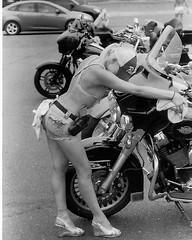 Bikini Bike Wash (Shot by Newman) Tags: bikes bikini bw bikeweek bullheadcityaz olearyspub riverrun laughlinnevada blonde hotlegs bikinibikewash heels gun hd harley ilford ilforddelta400 35mm shotbynewman daylight hiway95 bulletpolish ilfordbwfilm 35mmminolta